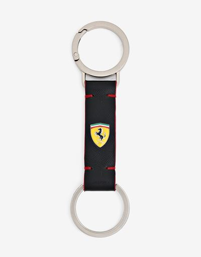 Evo keyring in Saffiano leather with enamelled Shield