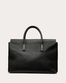 Medium Rockstud Grainy Calfskin Handbag