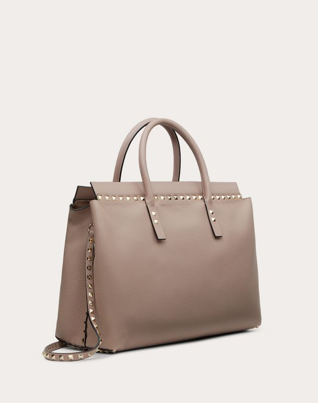 Medium Rockstud Grainy Calfskin Handbag