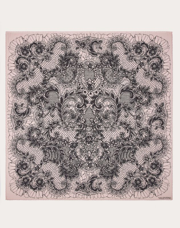Foulard in silk twill with Lace print 90x90 cm / 35x35 in