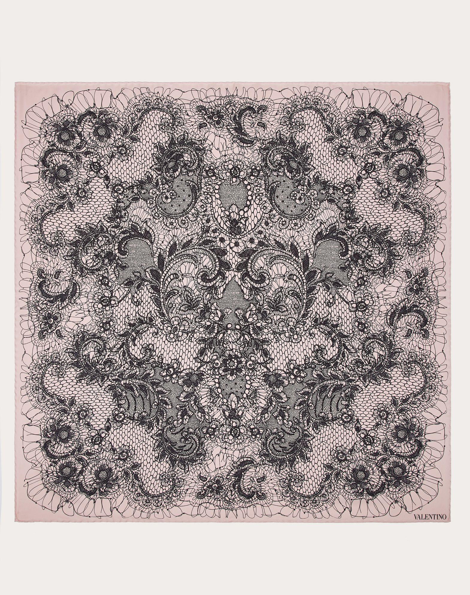 Foulard in silk twill with Lace print 90x90 cm