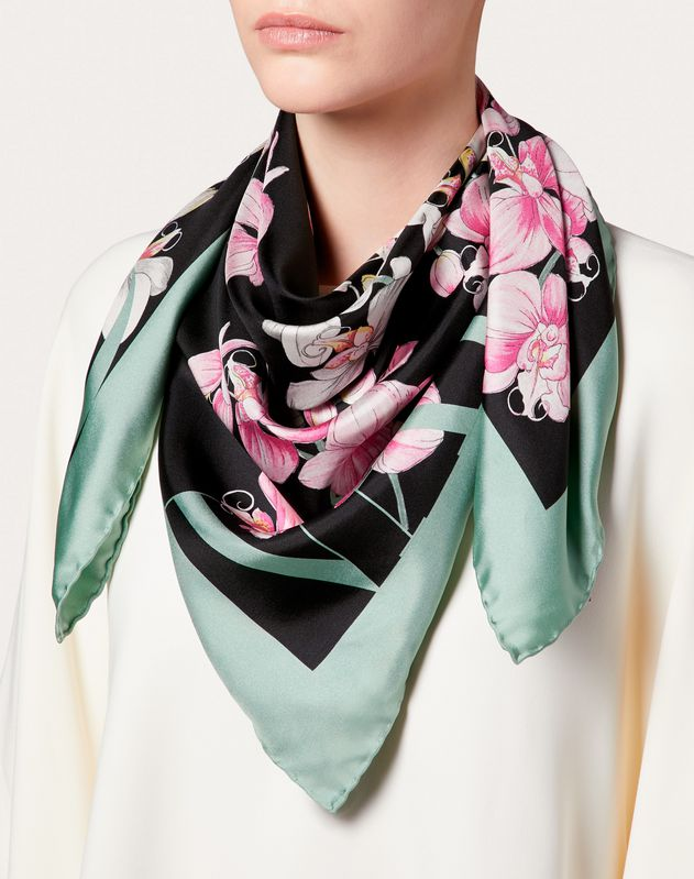 Silk Twill Foulard with Orchid Print  90x90 cm / 35.5 x 35.5 in