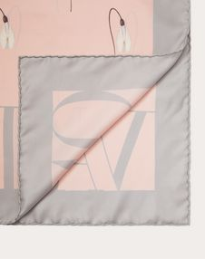 Silk Twill Foulard with Snowdrop Print 90x90 cm / 35.5 x 35.5 in