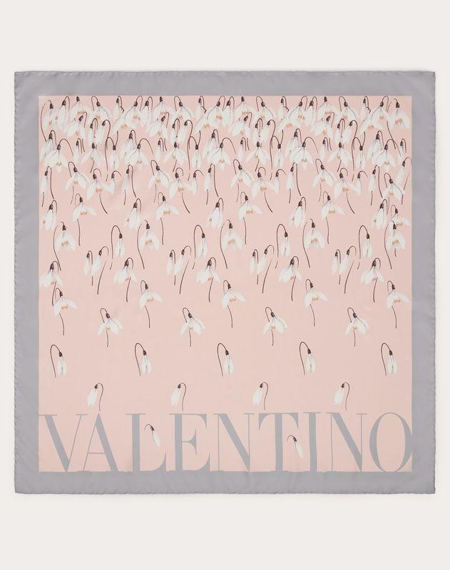 Foulard in twill di seta stampa fiori bucaneve 90x90 cm