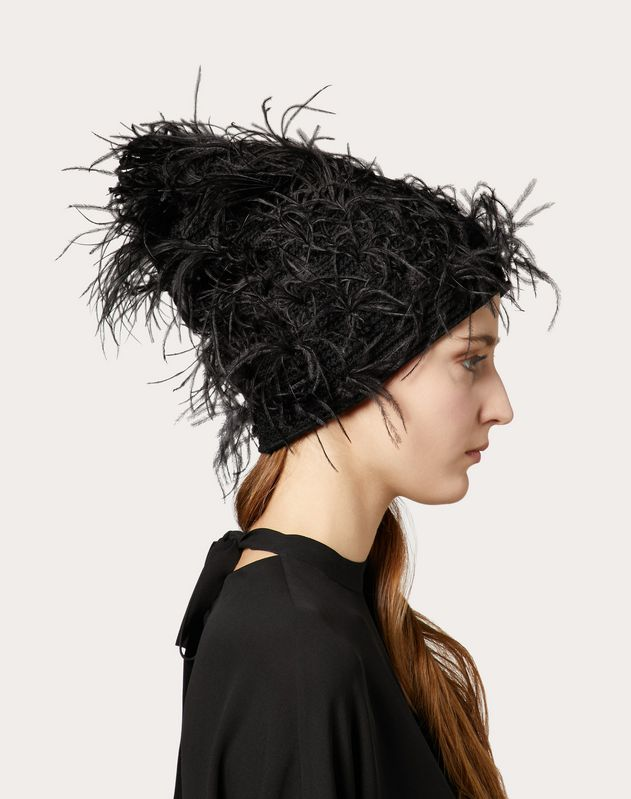 Beanie Hat with Feather Embellishments