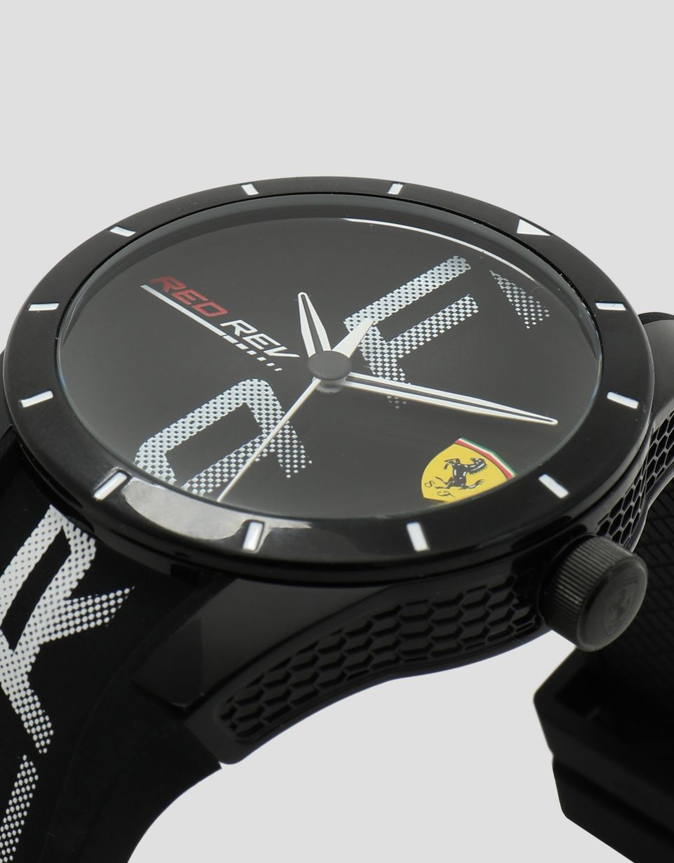 Scuderia Ferrari Online Store - Black Red Rev watch with white logo and detailing -