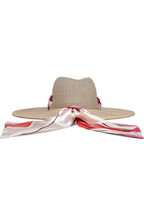 EUGENIA KIM Cassidy striped satin-trimmed woven straw sunhat