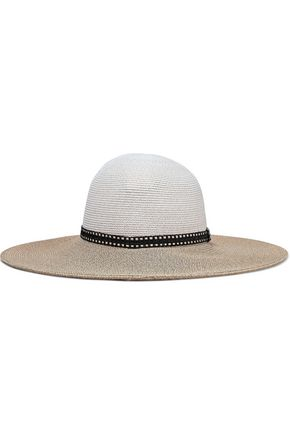 EUGENIA KIM Honey raffia-trimmed two-tone woven straw sunhat