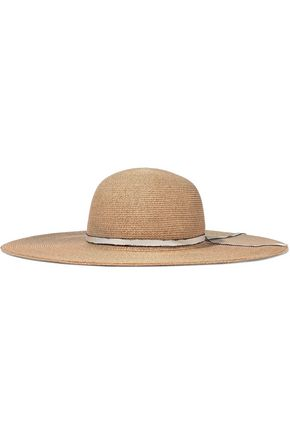 EUGENIA KIM Honey grosgrain-trimmed woven paper-blend sunhat