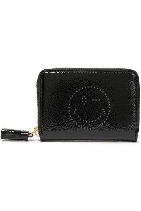 ANYA HINDMARCH Wink perforated crinkled patent-leather wallet