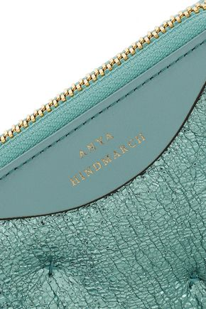 ANYA HINDMARCH Chubby smooth and metallic cracked-leather wallet