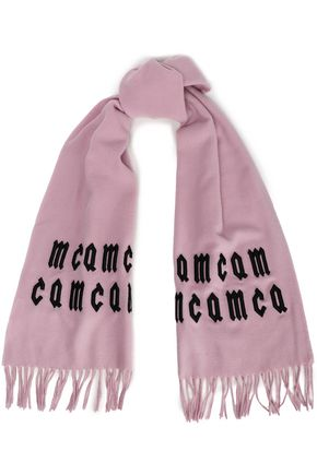 McQ Alexander McQueen Fringed embroidered wool scarf