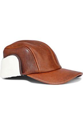 RAG & BONE قبعة من الجلد المتشقق مع أجزاء من صوف الحمل الاصطناعي