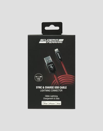 Scuderia Ferrari Online Store - Red USB cable for the iPhone - Smartphone Accessories