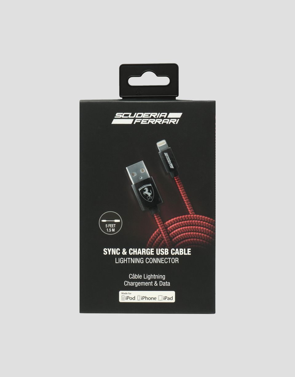 Scuderia Ferrari Online Store - Red USB iPhone cable - Smartphone Accessories