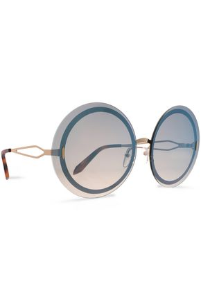 VICTORIA BECKHAM Round-frame gold-tone sunglasses