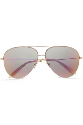 VICTORIA BECKHAM Aviator-style gold-tone mirrored sunglasses