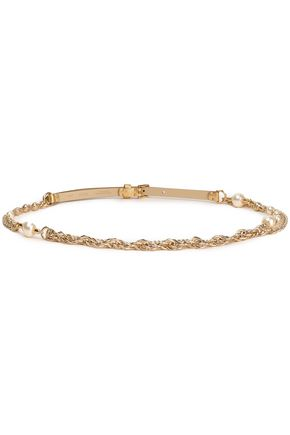 Faux Pearl Embellished Metallic Leather And Chain Belt by Dolce & Gabbana