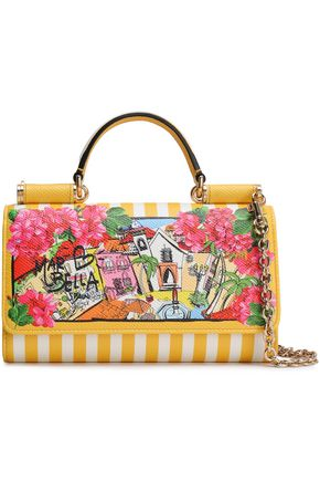 DOLCE & GABBANA Sicily Von printed textured-leather phone bag