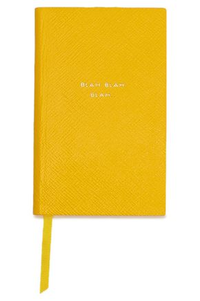 SMYTHSON Blah Blah Blah Panama printed textured-leather notebook