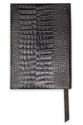 SMYTHSON Croc-effect leather notebook