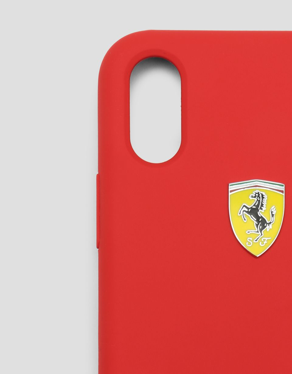 Scuderia Ferrari Online Store - Red rigid silicone case for the iPhone X and XS - Smartphone Accessories