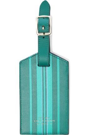 SMYTHSON Striped leather luggage tag