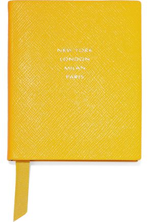 SMYTHSON Premier New York London Milan Paris textured-leather notebook