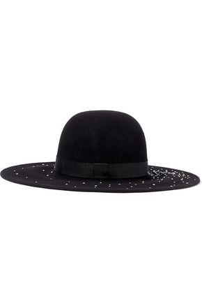 EUGENIA KIM Honey faux pearl-embellished wool-felt hat