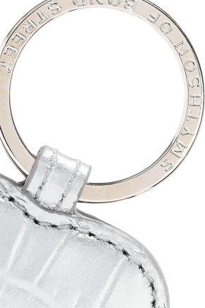SMYTHSON Mara metallic croc-effect leather keychain