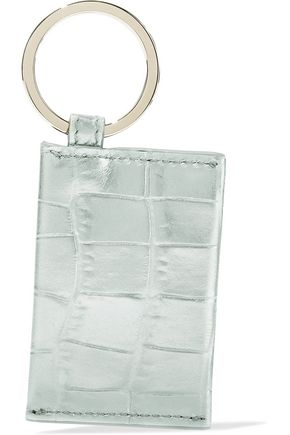 SMYTHSON Mara metallic croc-effect leather keychain