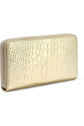 SMYTHSON Mara metallic croc-effect leather wallet