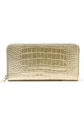 SMYTHSON Mara metallic croc-effect leather wallet