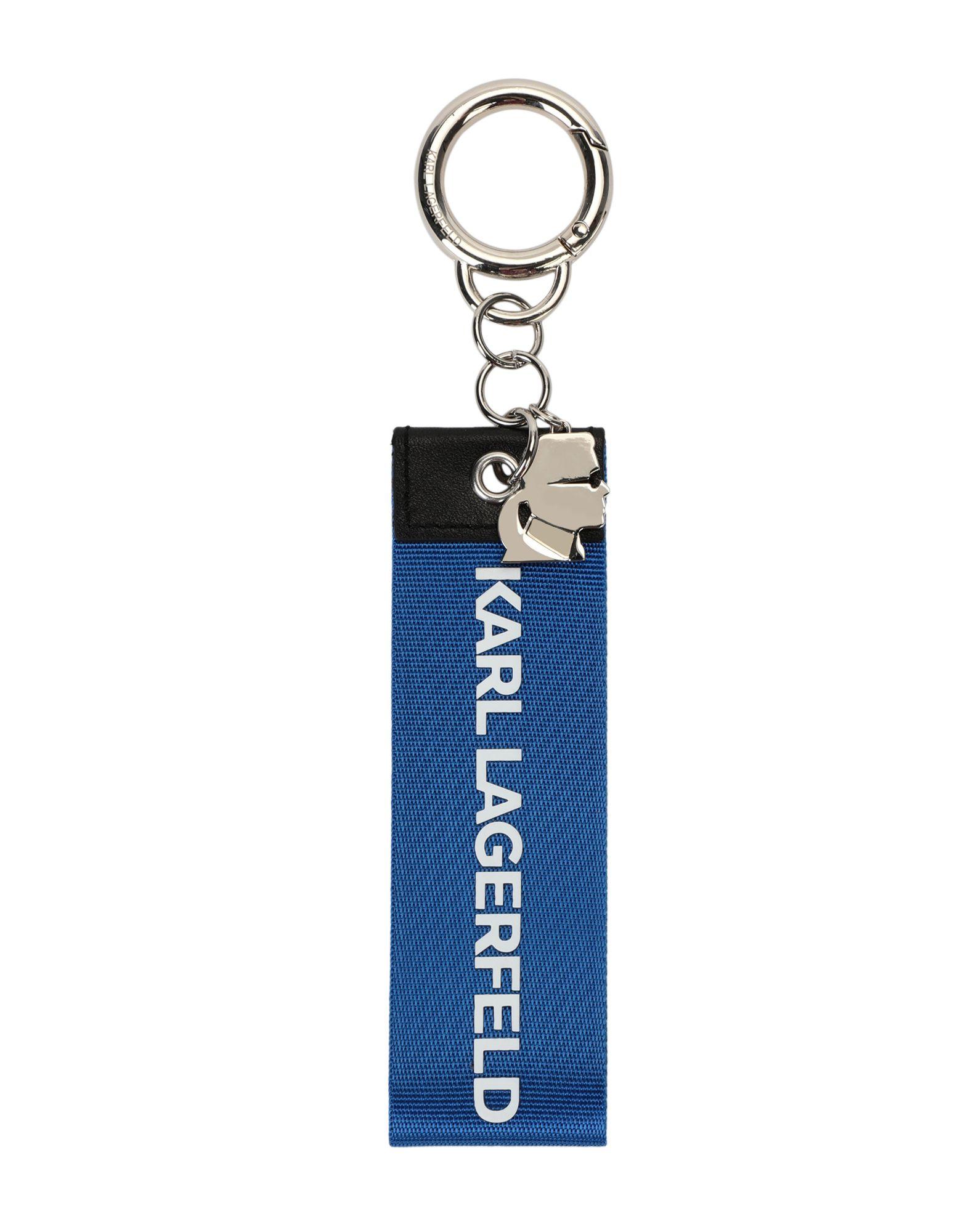 《セール開催中》KARL LAGERFELD レディース キーホルダー ブルー ナイロン 80% / 亜鉛 20%