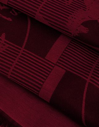 Scuderia Ferrari Online Store - Men's scarf with chequer squares and Ferrari Shield - Scarves