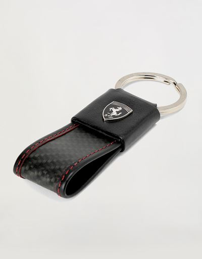 EVO keyring in leather and carbon fibre
