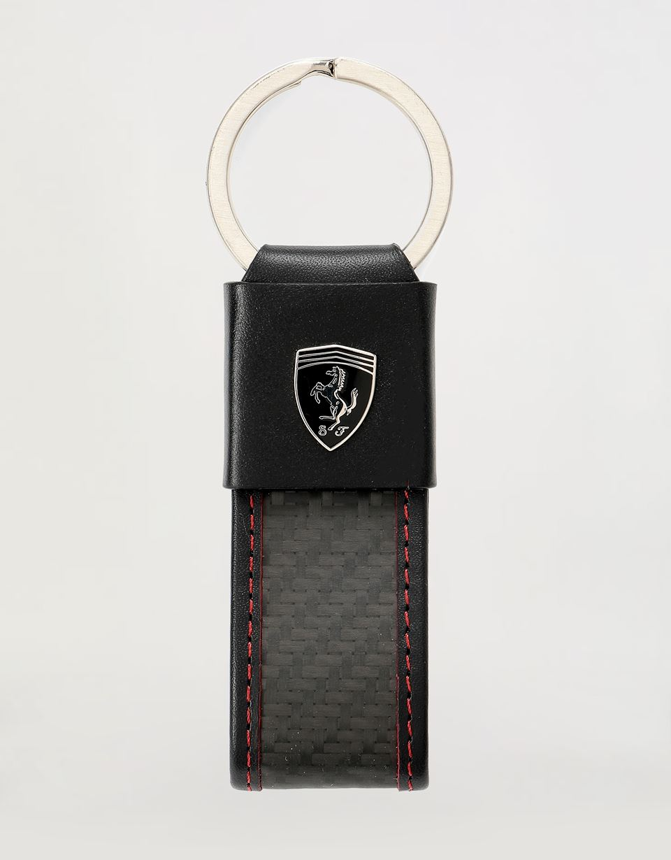 Scuderia Ferrari Online Store - EVO keyring in leather and carbon fibre -