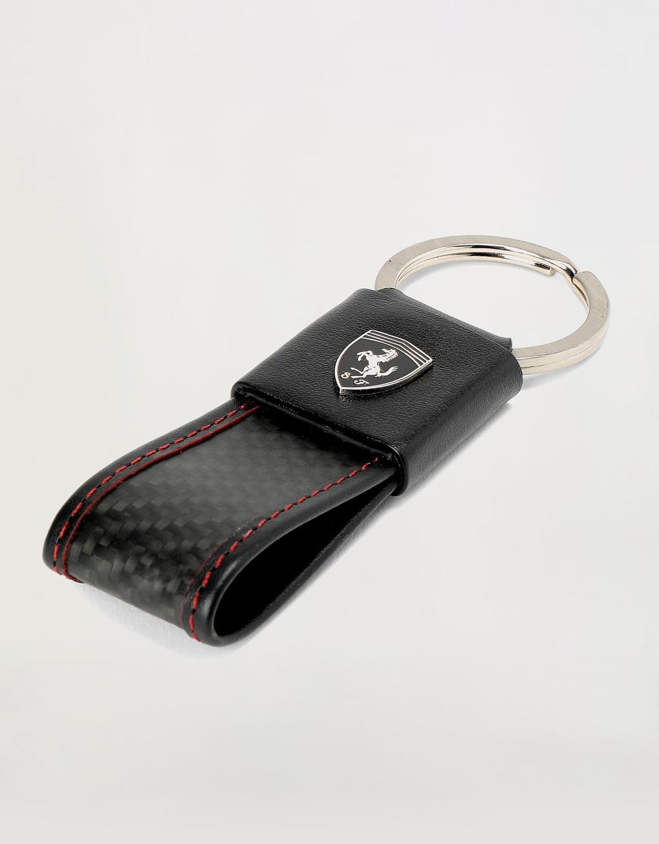 Scuderia Ferrari Online Store - EVO keyring in leather and carbon fibre - Keyholders