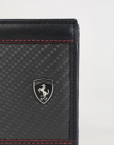 Scuderia Ferrari Online Store - EVO wallet in leather and carbon fibre - Horizontal Wallets