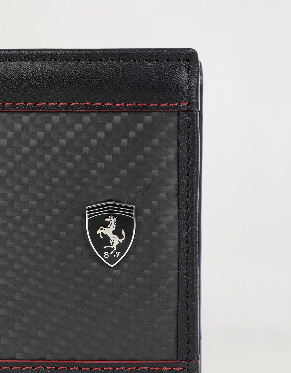 Scuderia Ferrari Online Store - EVO leather and carbon fiber wallet - Horizontal Wallets