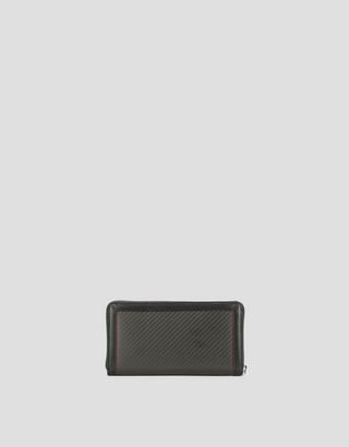 Scuderia Ferrari Online Store - EVO leather and carbon fiber zip-around wallet - Zip-around Wallets
