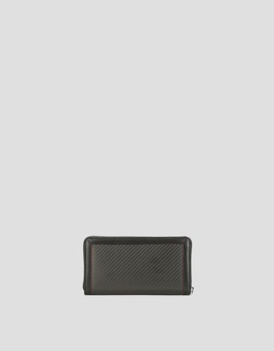 EVO wallet with zip-around, in leather and carbon fibre