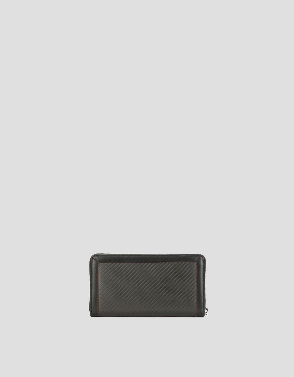 Scuderia Ferrari Online Store - EVO wallet with zip-around, in leather and carbon fibre - Zip-around Wallets