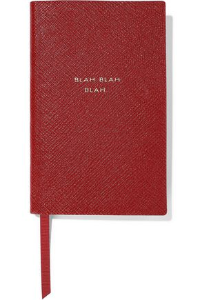 SMYTHSON Panama Blah Blah Blah textured-leather notebook