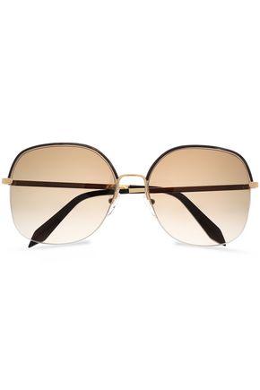 VICTORIA BECKHAM Square-frame tortoiseshell acetate and gold-tone sunglasses