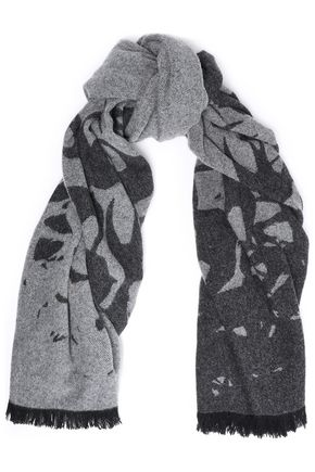 McQ Alexander McQueen Frayed brushed jacquard-knit wool-blend scarf