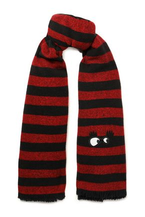 McQ Alexander McQueen Frayed appliquéd striped wool scarf