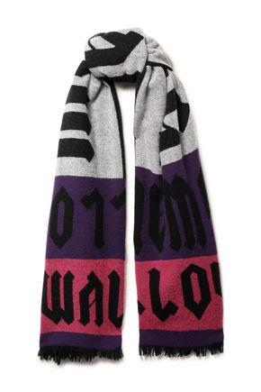 McQ Alexander McQueen Frayed color-block jacquard-knit wool-blend scarf