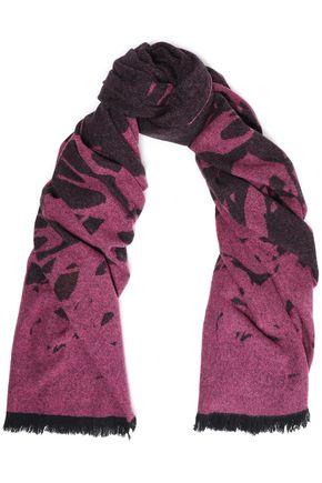 McQ Alexander McQueen Frayed wool-blend jacquard scarf