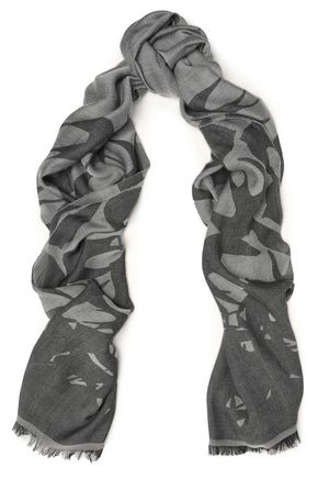 McQ Alexander McQueen Frayed modal and wool-blend jacquard scarf